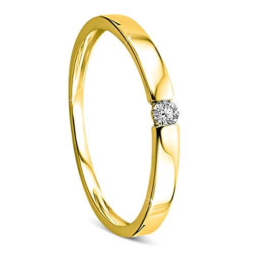 Orovi Ring für Damen Verlobungsring Gold Solitärring Diamantring 14 Karat (585) Brillanten 0.05crt GelbGold Ring mit Diamanten