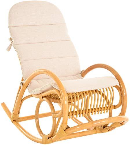 Gestäbter Schaukelstuhl aus Natur Rattan Schaukler Relax-Stuhl Rattanschaukelstuhl Schaukelsessel (Honig, mit Polster)