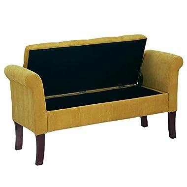 Adeco Eruo Style Fabric Arm Bench Ottoman Chair Footstool, Wood Legs, Lid Storage, Lemon