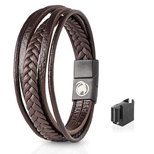 Steinbock7 Männer Lederarmband mit Magnetverschluss – Armband aus Leder in Geschenkbox (Braun)