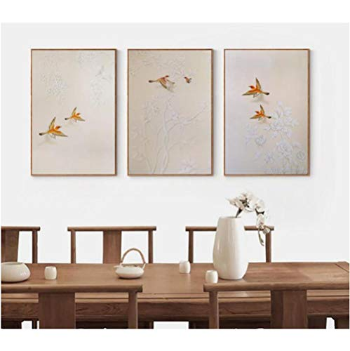 Jwqing Canvas Chinese oude schilderij witte bloem oranje vogel schilderij vintage poster muurkunst afbeelding afdrukken modern kunstwerk wooncultuur (40x60cmx3 geen lijst)