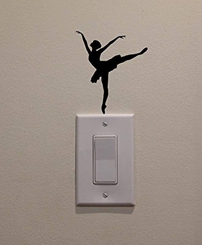 YINGKAI Ballet Dancer Dancing On Light Switch Decal Vinyl Wall Decal Sticker Art Living Room Carving Wall Decal Sticker For Kids Room Home Window Decoration