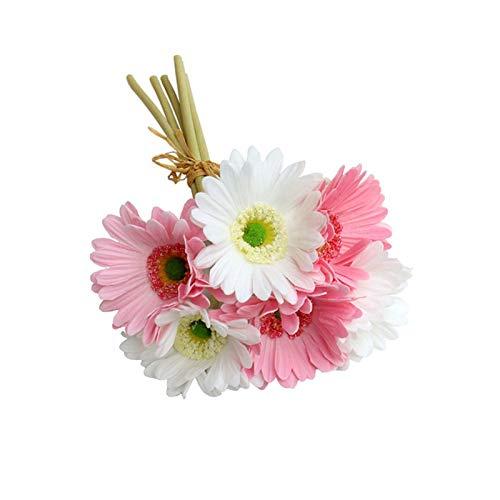 Honyan 6 tallos de flores artificiales de gerbera y ramo de flores de plástico para decoración de casa, oficina, restaurante, boda, fiesta, 32 cm