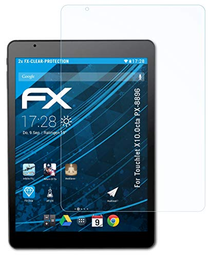 atFolix Schutzfolie kompatibel mit Touchlet X10.Octa PX-8896 Folie, ultraklare FX Bildschirmschutzfolie (2X)