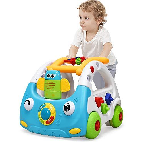 DREAMADE Lauflernhilfe mit höhenverstellbarem Griff, Multifunktionaler Baby Walker mit Fernbedienung, Lauflernwagen mit Musik & Licht & Spielzeugen, Laufhilfe für Kinder 6 bis 36 Monate (Blau)