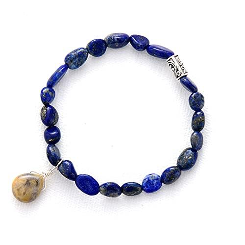 ACEACE Mujeres Pulseras Homme Piedras Preciosas Lapis Lazuli Pulsera Elástica Beads Trassel Pulsera (Metal Color : Lapis)