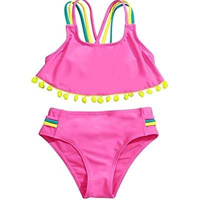 Loncoco Little Girls Summer Two Piece Soft Fashion Flounce One Shoulder Swimsuit Kids Flamingo Swimwear