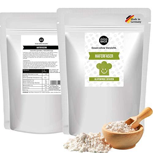 MITOBACK - Haferfaser zum Backen in 2 x 350 g Packung - Haferfasern ideal für Brot & Backwaren - Hafer Fasern für eine perfekte Textur (Low Carb, Ballaststoffreich, Vegan, Glutenfrei, Kalorienarm)