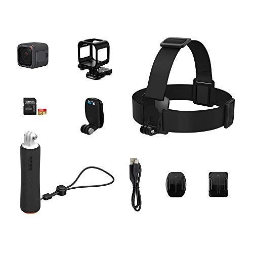 GoPro HERO5 Session Action Camera (4K Video, 10MP Photos) Bundle with 16GB MicroSD Card, Head Strap and QuickClip, and Floating Hand Grip (Renewed)