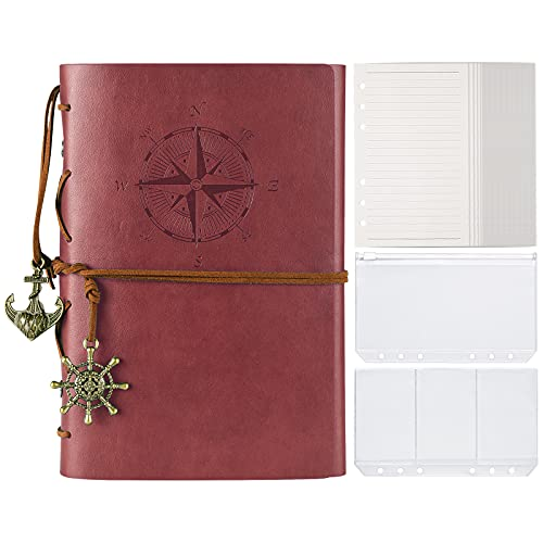 Leather Journal Notebook, Vintage Refillable Writing Journal for Women...