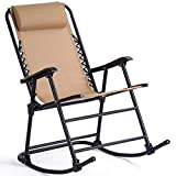 Goplus Folding Rocking Chair Recliner w/Headrest Patio Pool Yard Outdoor...