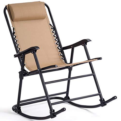 Goplus Folding Rocking Chair Recliner w/Headrest Patio Pool Yard Outdoor Portable Zero Gravity Chair for Camping Fishing Beach (Beige)