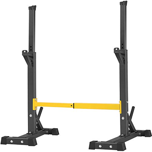 BangTong&Li Pair of Squat Rack Stand Barbell Free Press Bench Home Gym Dumbbell Racks Stands Adjustable (Black+Yellow)