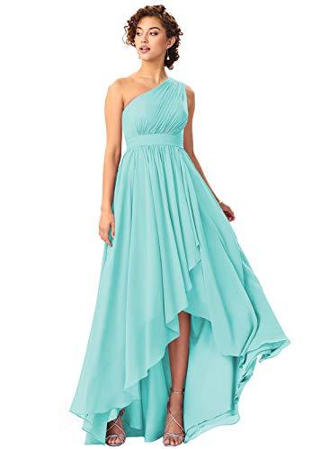 BOLENSEY Plus Size Hi-Lo One Shoulder Chiffon Bridesmaid Dress with Pockets Long Formal Evening Gown Size 18 Tiffany Blue