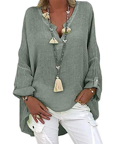 Minetom Femme T-Shirts Coton Lin Chemise Chic Simple Haut Jacquard Tops Tunique Col V Blouse Tops B Armée Verte 3XL