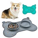 Dog Bowl Slow Feeder Fun Interactive Food Feeder with BPA Free Food Water...