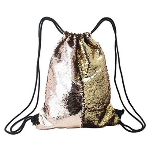 Tskybag Sac à dos sirène à paillettes avec cordon de serrage pour femmes, filles, adolescentes (champagne/doré)