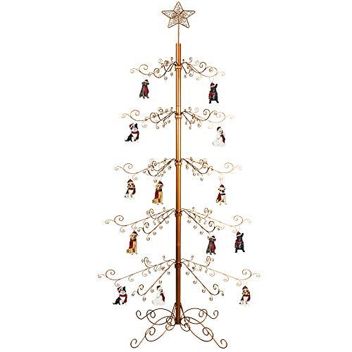 HOHIYA Wrought Iron Christmas Tree Metal Ornament Display Stand 7 to 8 Feet Gold