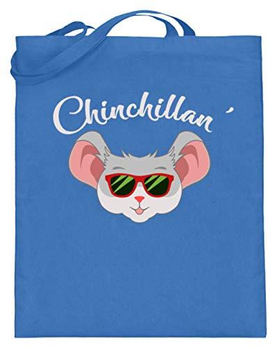 Générique Chinchillan' - Chinchilla - Chinois, propriétaires de chinchilla, amoureux chinois, filles - Sac en jute (avec anse longue) - Bleu - bleu, 38cm-42cm