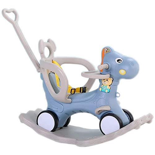 WJTMY Silla Mecedora para bebé Caballo Mecedora de Madera Multifuncional Musical Paseo en Juguetes Cinco en uno Carro Mecedora