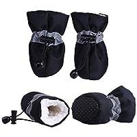 小猫犬子犬犬ソックスブーツのために4本のペットの犬の冬の靴は滑り止め防水雨雪のブーツ厚く暖かい履物 (Color : Black, Size : XL.)