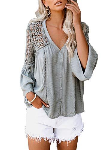 Astylish Bluse Damen, Elegante Langarmshirts Oberteile Spitze mit V-Ausschnitt Shirt Damen Spitze Casual Hemd Drawstring Blusen Tops Spitze einfarbig (S-2XL), Agrau, M-EU(38-40)