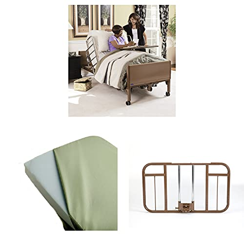 Invacare Homecare Bed Bundle | Foam Mattress & Half Length Rails | Full-Electric Hospital Bed for Home Use