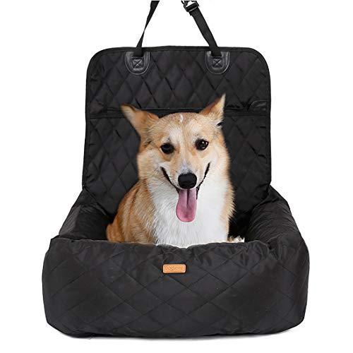 Gyj&mmm Lit pour Chien Car Seat Cover Car Pet Booster Seat 2 en 1 Façade Arrière Protecteur Pet Lookout Car Seat Portable Voyage,Noir