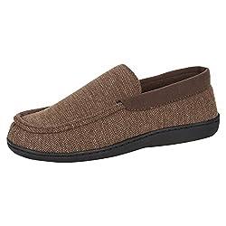 top 10 gold mens slippers Hanes Men's Slippers Household Shoes Moccasins Comfort Memory Foam Indoor Outdoor Fresh IQ, Brown, Medium