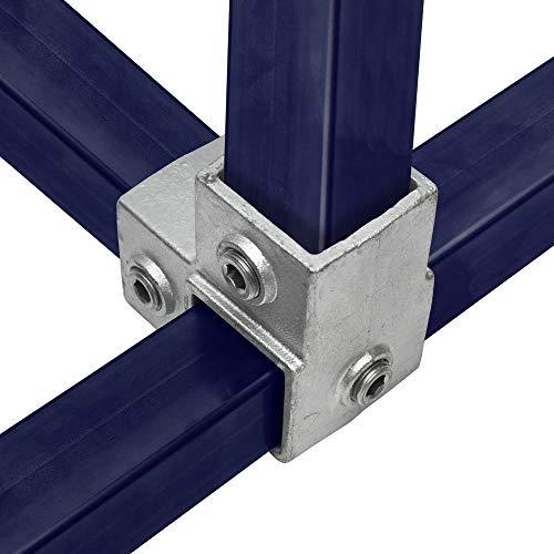 Klemp – Conector cuadrado de tubo, 40 x 40 mm, tubos cuadrados, moldeado maleable, pieza angular, tipo 20S-40