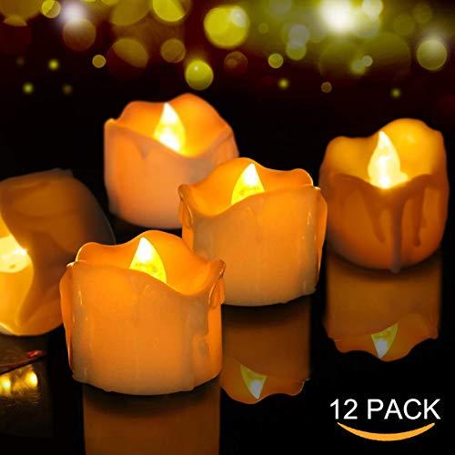 Velas de LED 12 Pcs, FOCHEA Velas Eléctricas Sin Llama para Bodas Decoración, Navidad, San Valentín,...
