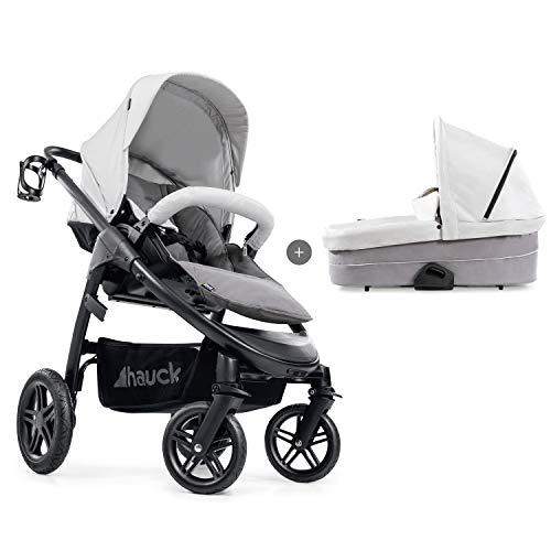 Hauck Kombi Kinderwagen Saturn R Duoset / inkl. Babywanne & Beindecke / für Babys und Kinder ab Geburt / Belastbar bis 25 kg / Wendbar / Höhenverstellbar / Kompakt Faltbar / Getränke Halter / Grau