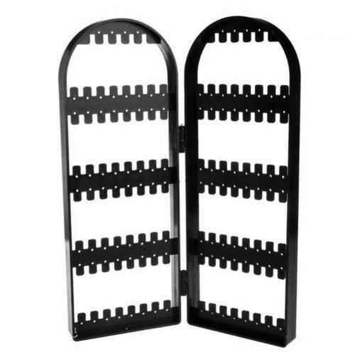 120 hoyos plegables de plástico Joyas de plástico Pendientes Pendientes Pulsera Collar Pantalla Soporte Soporte Joyería Almacenamiento Racks Organizador de joyería (Color : Black)