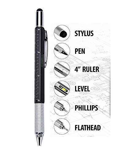 Multi Werkzeugstift mit Wasserwaage, Lineal, Stift, gerader Schraubendreher, DIY-Werkzeug, Tischler, Handwerker, Handwerker, Handwerker, Bilder, Hängestift, ideales Geschenk