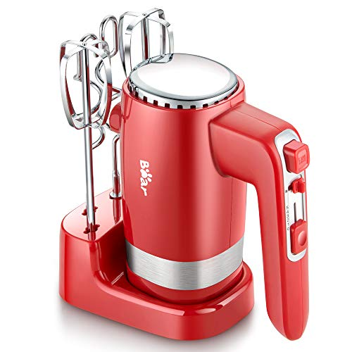 Hand Mixer Electric, Bear 2x5 Speed 300W Electric Hand Mixer with 4 Stainless Steel Accessories Storage Base Eject Button Power Advantage Red Hand Mixer for Easy Whipping Dough, Cream, Cake, Cookies