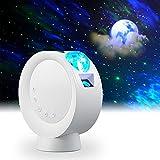 LooEooDoo Proyector de estrella LED, iluminación de galaxia, lámpara de noche de nebulosa lunar con base, control remoto y funciona con batería de 2000 mAh(Blanco)