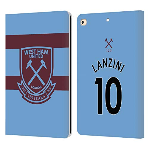 Official West Ham United FC Manuel Lanzini 2020/21 Players Away Kit Leather Book Wallet Case Cover Compatible For Apple iPad 9.7 2017 / iPad 9.7 2018