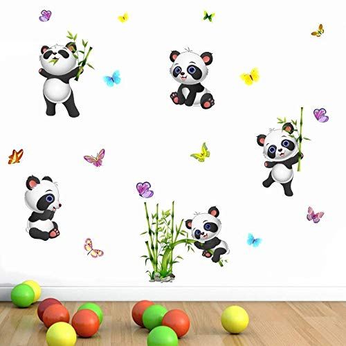 Cute Panda Butterfly Bamboo Wall Stickers Cartoon Animal Wall Decals for Kids Rooms Bedroom Living Room Home Decor