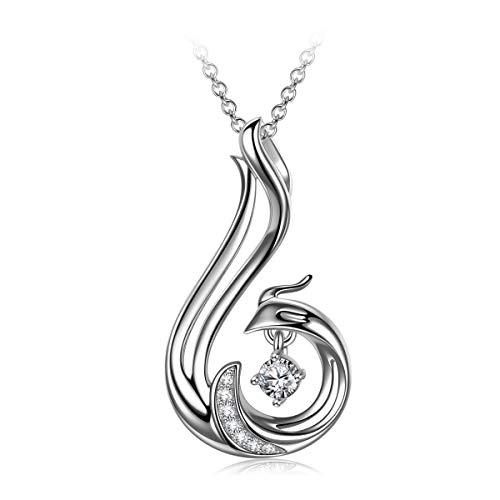 J.RENEÉ Kette Damen, Phoenix Anhänger, Silber 925 Halskette, Halskette Damen, Schmuck Damen, Geschenke für Frauen