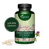 Cardo Mariano Vegavero® | 120 o 365 Cápsulas | La Dosis Más Alta: 840 mg | 80% de Silimarina | Sin Aditivos Artificiales | Detox + Hígado y Vesícula | Testado en Laboratorio | Milk Thistle