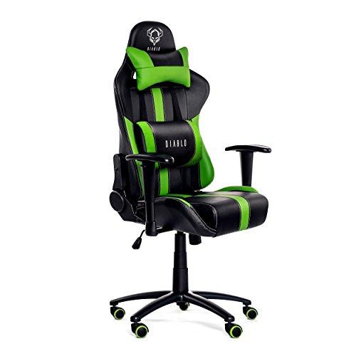 Diablo X-Player Gaming Stuhl Schreibtischstuhl verstellbare Armlehnen Wippfunktion Lendenkissen Kunstlederbezug Farbauswahl (schwarz/grün)