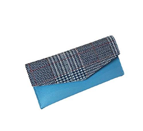 NOLOGO Wallet Frauen Personality Plaid Wallet Wilde Multi-Card Wallet Vertical Wallet (Color : Blue)