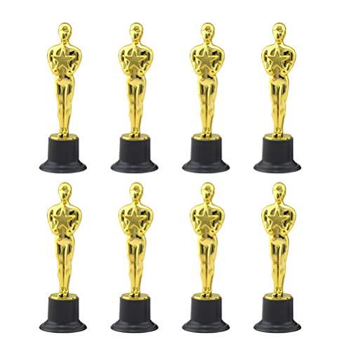 NUOBESTY 8 trofeos de premio Oscar Gold Mini Gold Award Trofeos de plástico premio ganador de premios trofeos para fiestas, celebraciones, regalo de aprecio y premios de la Academia Deportiva