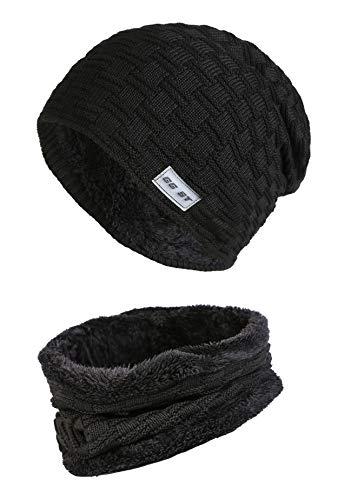 GG ST Kinder Winterm¨¹TZE Beanie Hut mit Schal Set Strickm¨¹TZE Slouchy Warme Knit Skull Cap