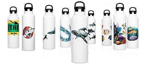Fish Tank Botella térmica ilustrada Humpback