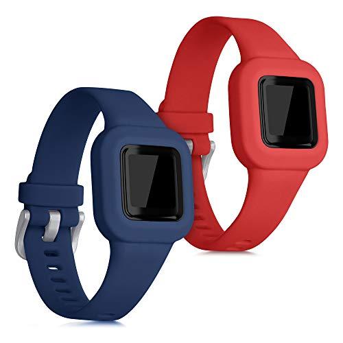 kwmobile 2X Pulsera Compatible con Garmin Vivofit jr. 3 - Brazalete de Silicona Azul Oscuro/Rojo sin Fitness Tracker