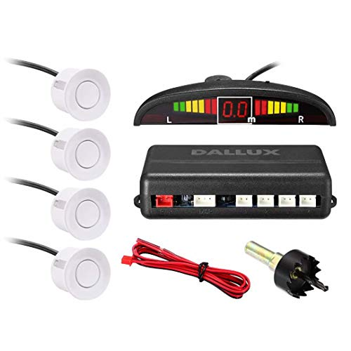 DALLUX LED Display Parking Sensor,Car Reverse Backup Radar System,LED Display+Buzzer Alert+4 White Color Parking sensors for Universal Auto Vehicle