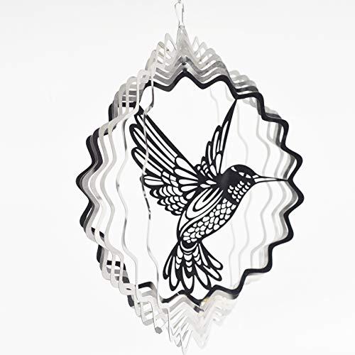 FENELY Kinetisches Meta-Windspiel für den Außenbereich, Gartendekoration, 3D-Handwerk, Ornamente, Metall-Windskulpturen & Spinner Whirligig Geschenke mit 30,5 cm Kolibri 2