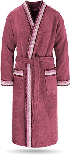 normani Bademantel Set aus 100% Bio-Baumwolle (Bademantel + Handtuch + Waschlappen) für Herren und Damen [S-4XL] Farbe Fuchsia Größe 3XL