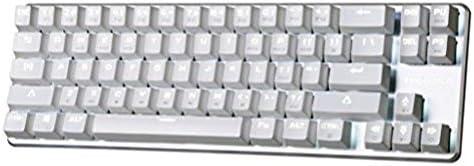 Qisan® Gaming Teclado Retroiluminado Mecánico Con Cable Mecánico Cherry MX-68 Interruptor de Brown Claves Mini Cable Design Blanco